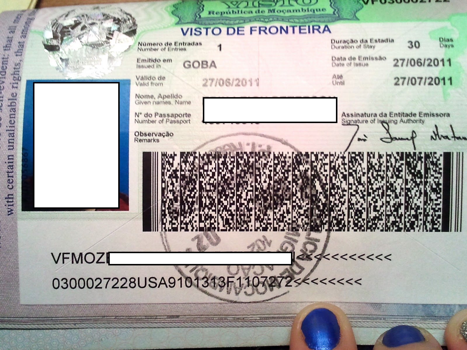 Edited Visto de fronteir border visa Mozambique